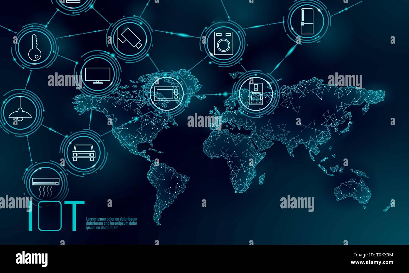 Blue space planet Earth internet of things icon innovation technology concept. Wireless communication network IOT ICT. Intelligent system automation - Stock Image