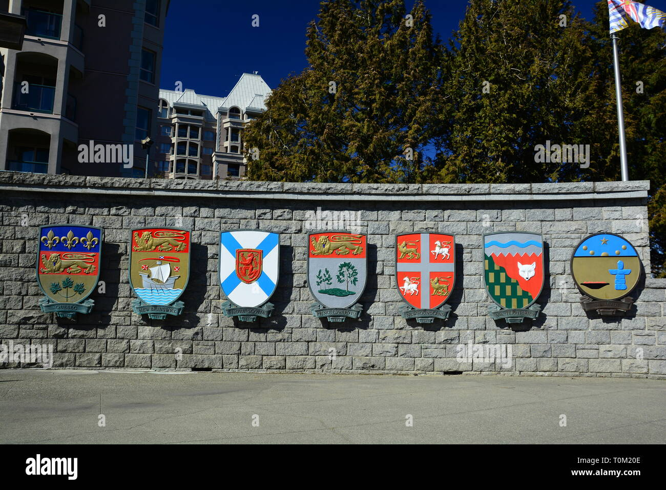 Coats of arms for Eastern Canadian provinces,and Nunavut a Northwest Territories. - Stock Image