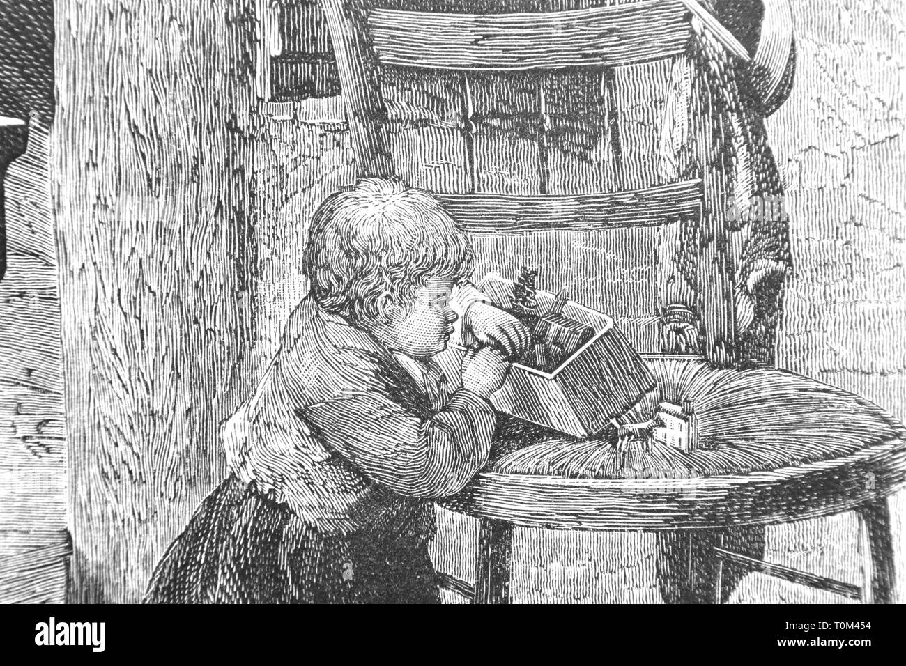 Child looks in the box - Vintage Engraved Illustration, 1894 - Stock Image