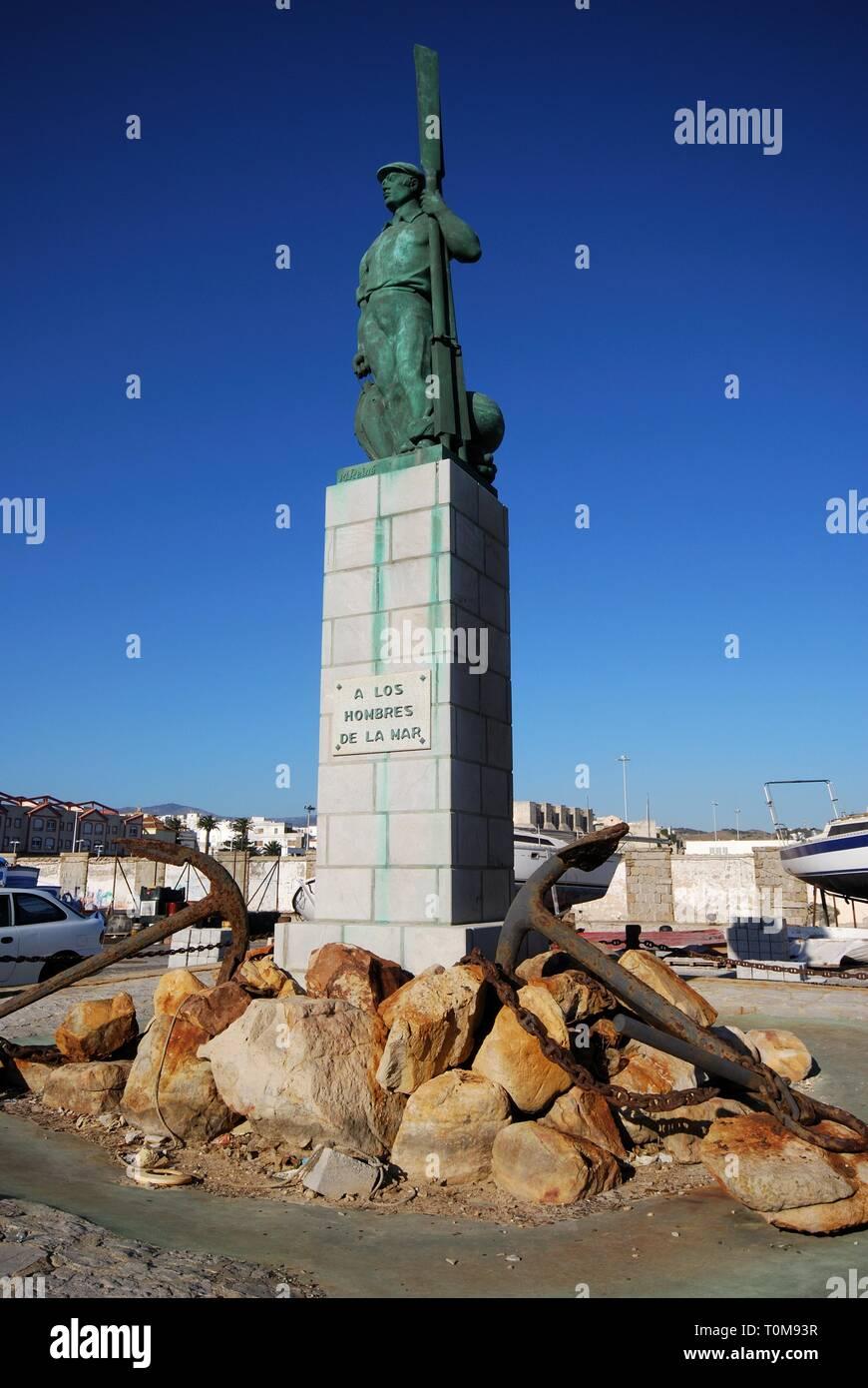 TARIFA, SPAIN - SEPTEMBER 14, 2008 - View of the fisherman statue in the port (A Los Hombres de la Mar), Tarifa, Cadiz Province, Andalusia, Spain, Eur - Stock Image