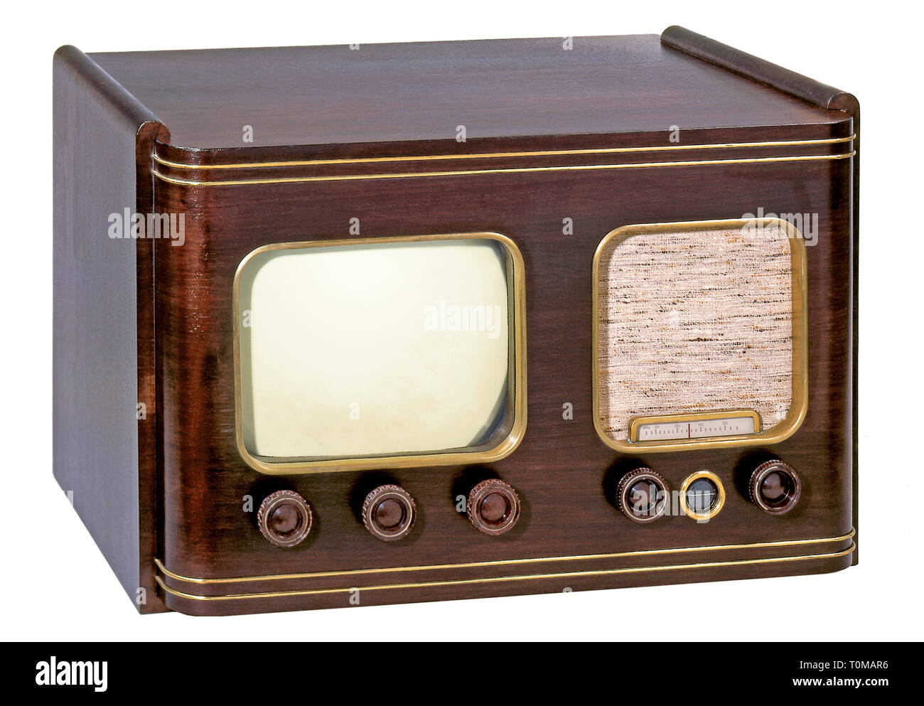 broadcast, television, television set of the C. Lorenz Company, TV set 6 P 515, pre-version, produced circa 1951, one of the first TV sets after the Second World War, Germany, 1951, Additional-Rights-Clearance-Info-Not-Available - Stock Image