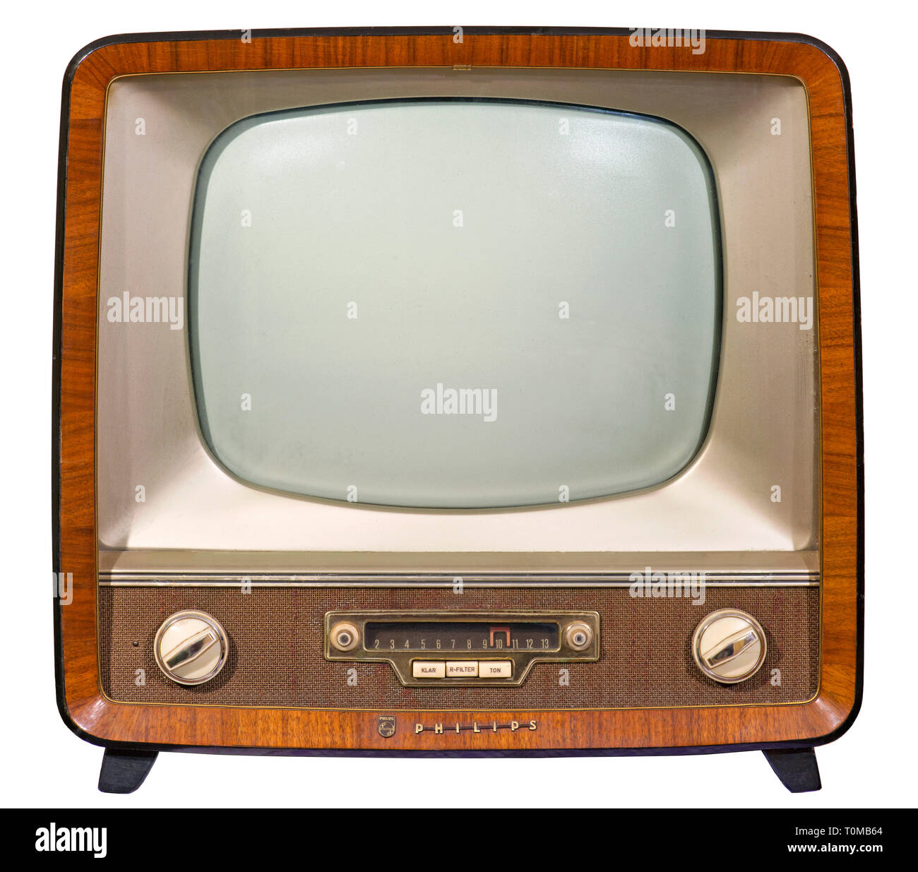 broadcast, television, television set Philips, TV desk receiver Raffäl-Luxus, version 17 TD 230 A, screen diagonal 43 centimeter, retail price 1954: DM 898, Germany, 1958, Additional-Rights-Clearance-Info-Not-Available - Stock Image