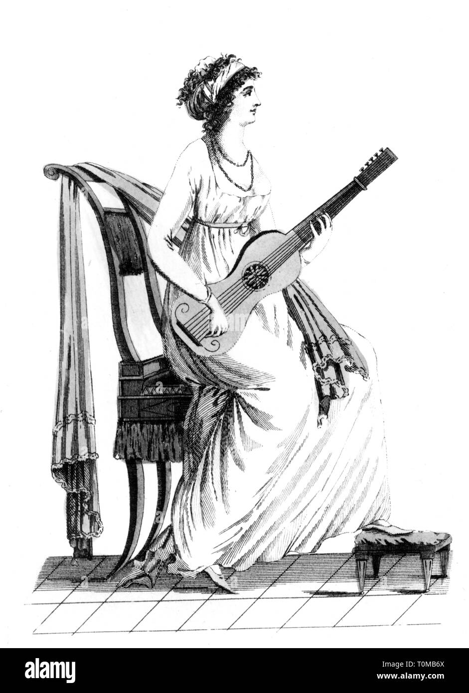 music, musicians, guitarist, series about fashion, Parisian dress, January 1799, Additional-Rights-Clearance-Info-Not-Available - Stock Image