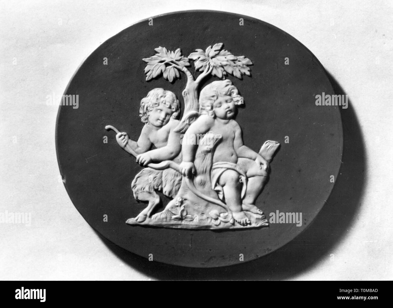 fine arts, porcelain, satyr stealing bow from Cupid, manufactory Ilmenau, 18th century, town hall, Ilmenau, Additional-Rights-Clearance-Info-Not-Available - Stock Image