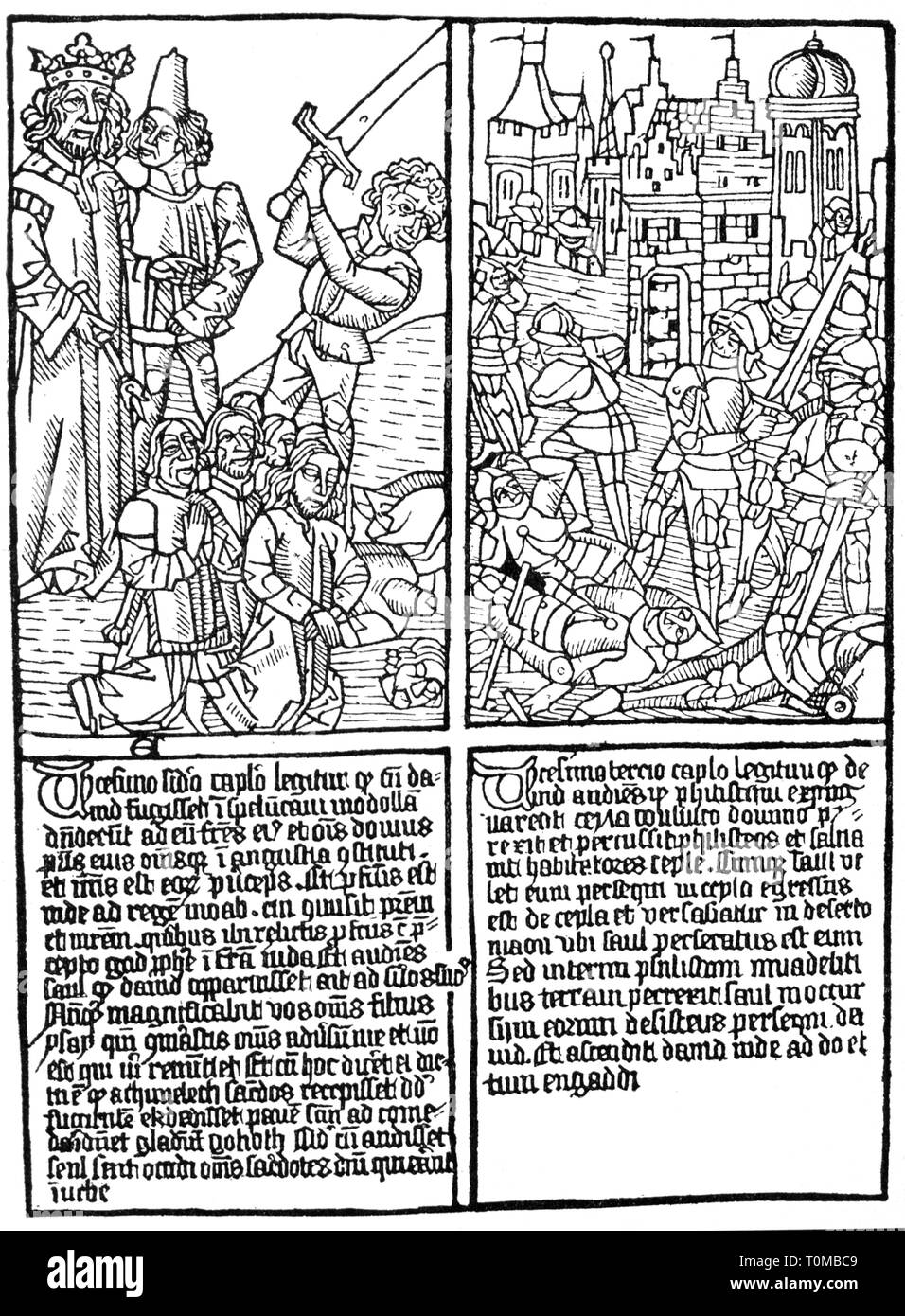 religion, Christianity, books, Old Testament, Book of Kings, page, woodcut, 15th century, Bible, biblical scene, biblical scenes, biblical story, biblical stories, execution, executions, behead, beheading, bloodbath, carnage, slaughter, massacre, massacres, war, wars, letterpress, Middle Ages, Gothic style, Gothic period, fine arts, art, graphic, graphics, script, scripts, Latin language, in Latin, people, religion, religions, book, books, last will, last will and testament, make a will, by will, king, kings, page, pages, woodcut, woodcuts, histo, Additional-Rights-Clearance-Info-Not-Available - Stock Image