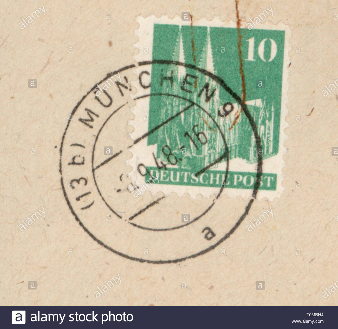 mail, postage stamps, Germany, 10 pfennig postage stamp, German mail, first issue: 1.9.1948, motif Cologne Cathedral, design by Max Bittrof, postmarked, Munich, September 1948, postal stamp, postal stamps, Cologne, architecture, post war period, post-war period, post-war years, post-war era, bizone, West Germany, Western Germany, Germany, 1940s, 40s, 20th century, no-people, pfennig, penny, postage stamp, postage stamps, mail, post, cathedral, cathedrals, design, designs, historic, historical, Artist's Copyright must also be cleared - Stock Image