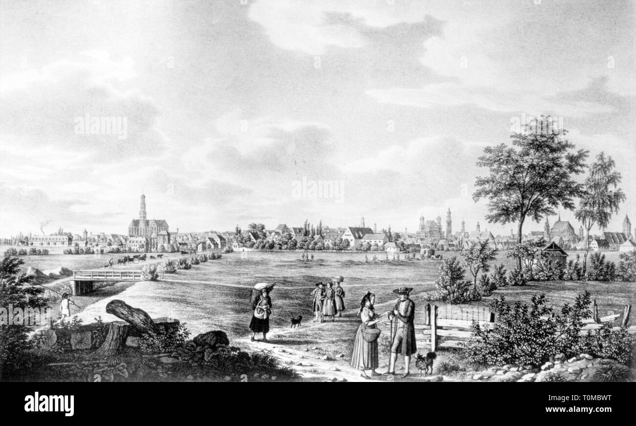 geography / travel, Germany, Augsburg, view, lithograph by Gustav Kraus, circa 1840, Additional-Rights-Clearance-Info-Not-Available - Stock Image