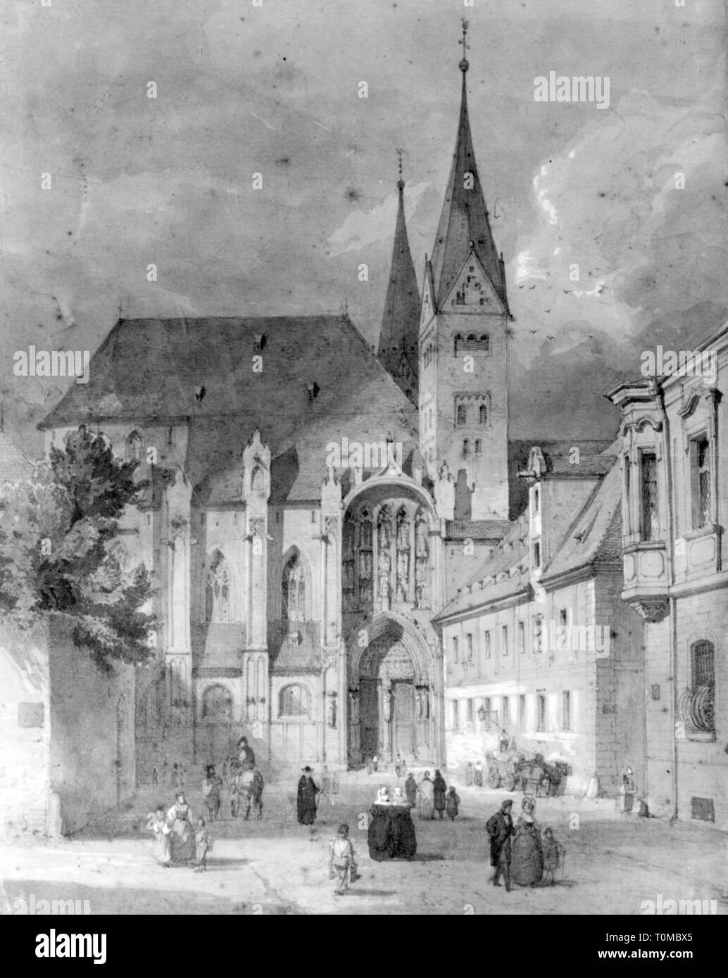 geography / travel, Germany, Augsburg, churches, cathedral of Our Blessed Lady, exterior view, lithograph by Eduard Gerhardt, mid 19th century, city, Frauenkirche (Church of Our Lady), St. Mary's Church, St. Mary's Cathedral, Saint Mary, Our Lady, the Blessed Virgin Mary, the Virgin Mary, Our Blessed Lady, steeple, church tower, steeples, church towers, Swabia, Kingdom of Bavaria, Central Europe, people, community, communities, churches, church, cathedral, cathedrals, loving, love, woman, women, historic, historical, Additional-Rights-Clearance-Info-Not-Available - Stock Image