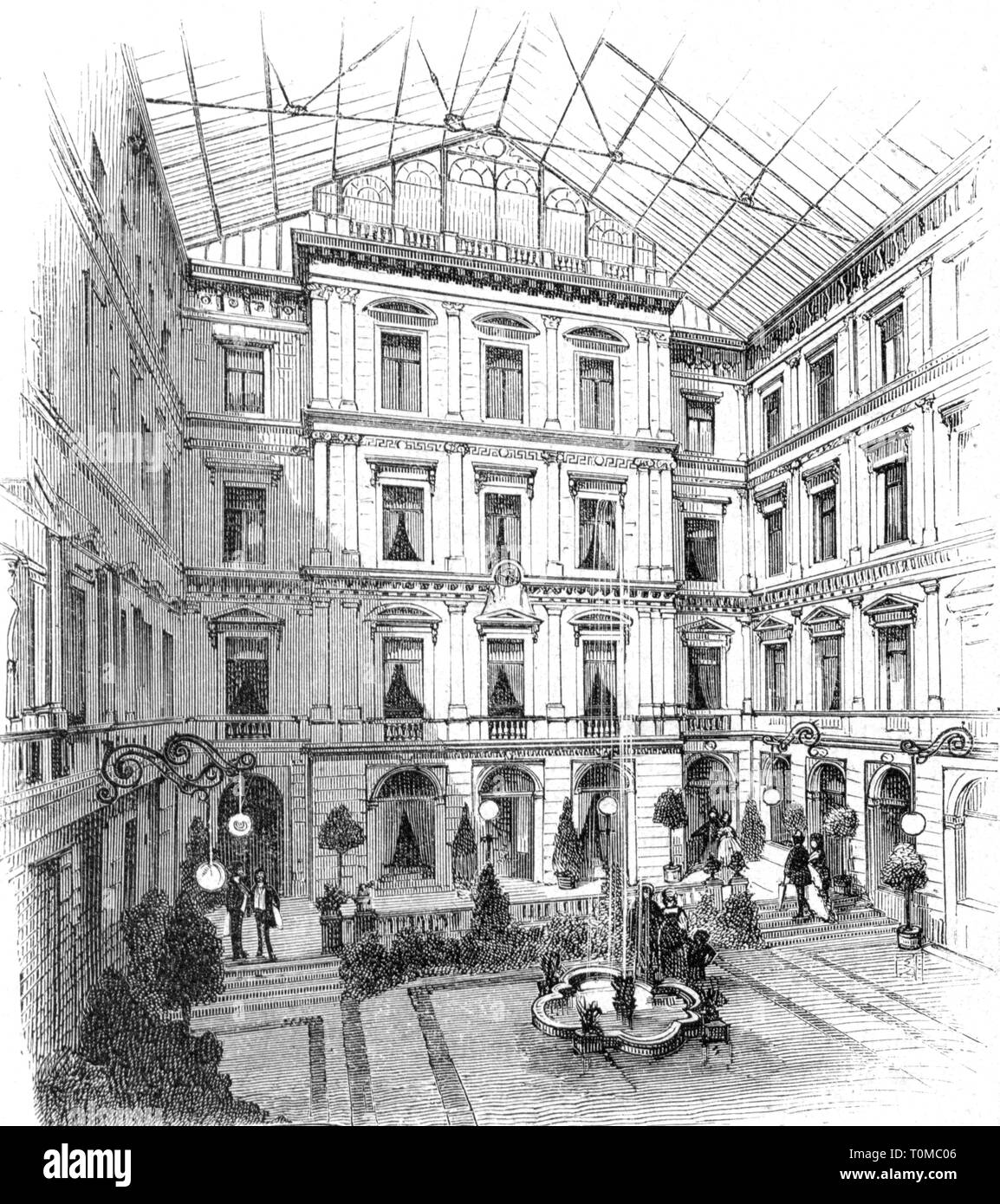 gastronomy, tavern, inn 'Zu den Drei Mohren', Augsburg, interior view, air well, wood engraving after drawing by G. Sundblad, 'Die Gartenlaube', 1878, Additional-Rights-Clearance-Info-Not-Available - Stock Image