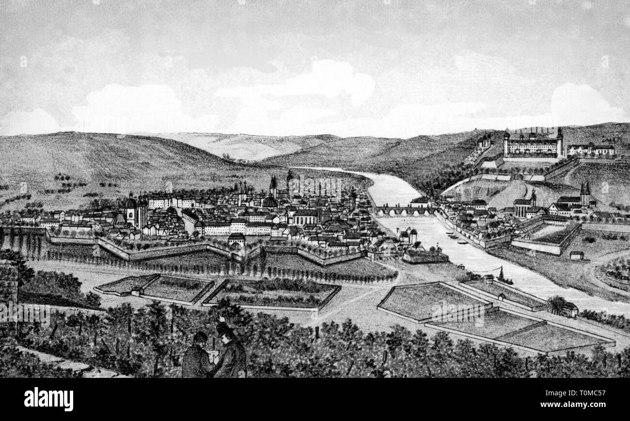 geography / travel, Germany, Würzburg, view, in the period of Grand Duke Ferdinand of Austria, 1806 - 1814, Artist's Copyright has not to be cleared - Stock Image