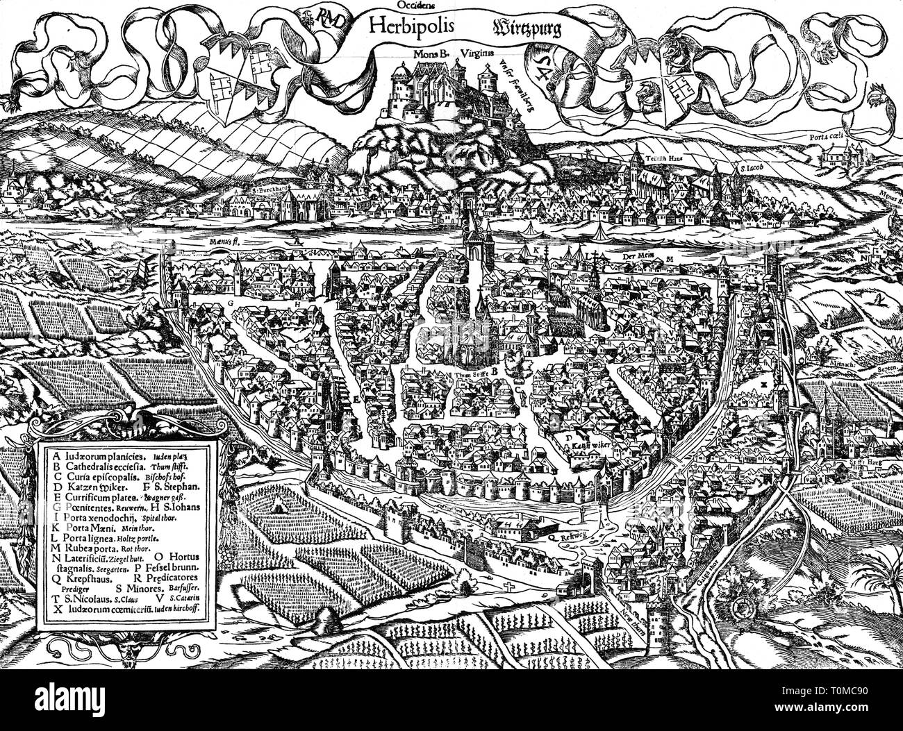 geography / travel, Germany, Wuerzburg, view, woodcut by Hans Deutsch, 'Cosmographia' by Sebastian Muenster, second edition, 1550, Additional-Rights-Clearance-Info-Not-Available - Stock Image
