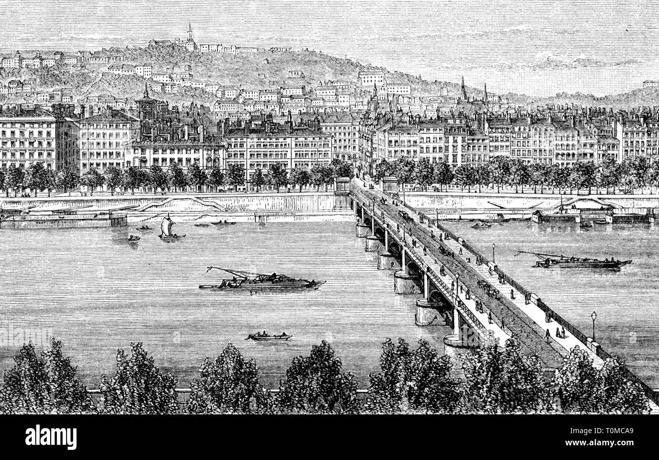 geography / travel, France, Lyon, view, Quai and Pont Saint Claire, wood engraving, 1893, Artist's Copyright has not to be cleared - Stock Image