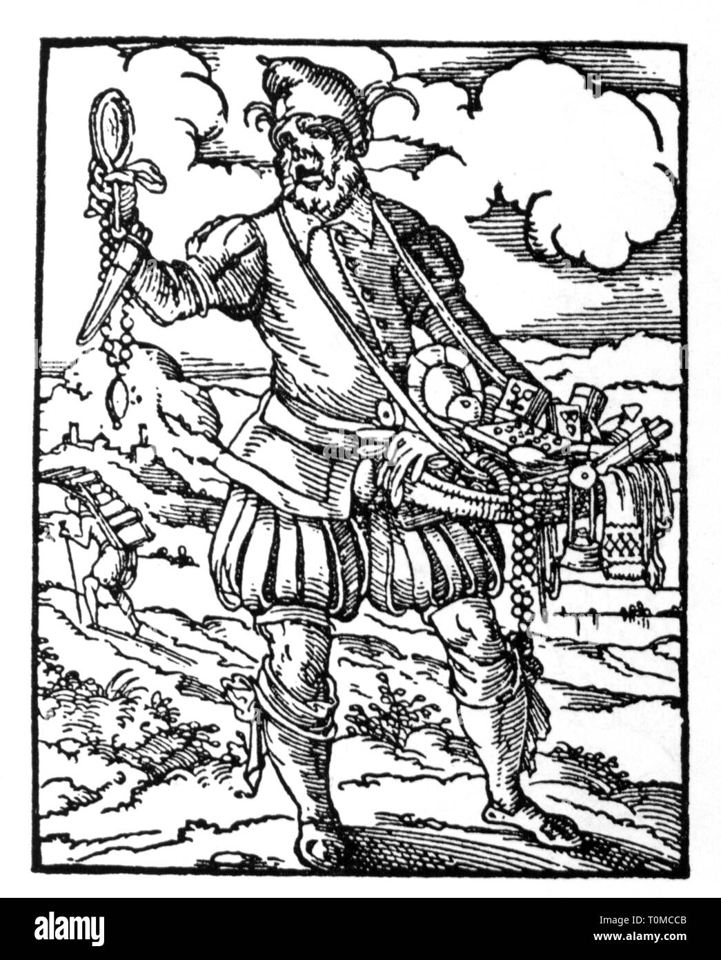 people, profession, jester, woodcut, 'Staendebuch' by Jost Amman, Frankfurt am Main, 1568, with verse by Hans Sachs, Additional-Rights-Clearance-Info-Not-Available - Stock Image