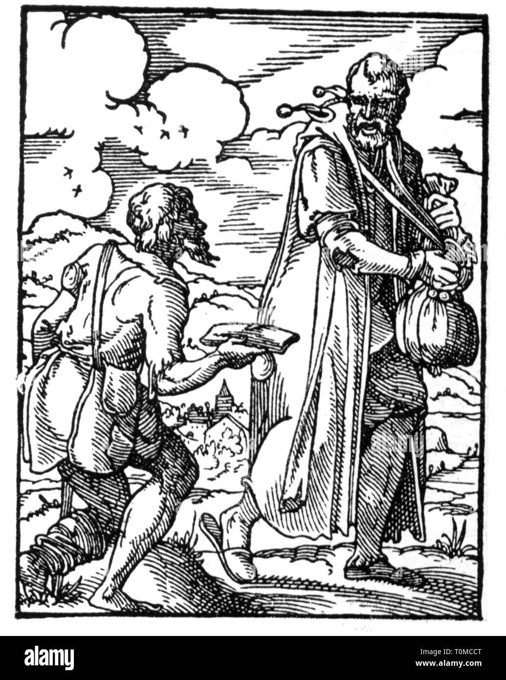 people, allegories, 'Money's Fool', woodcut, 'Staendebuch' von Jost Amman, Frankfurt am Main, 1568, with verse by Hans Sachs, Additional-Rights-Clearance-Info-Not-Available - Stock Image