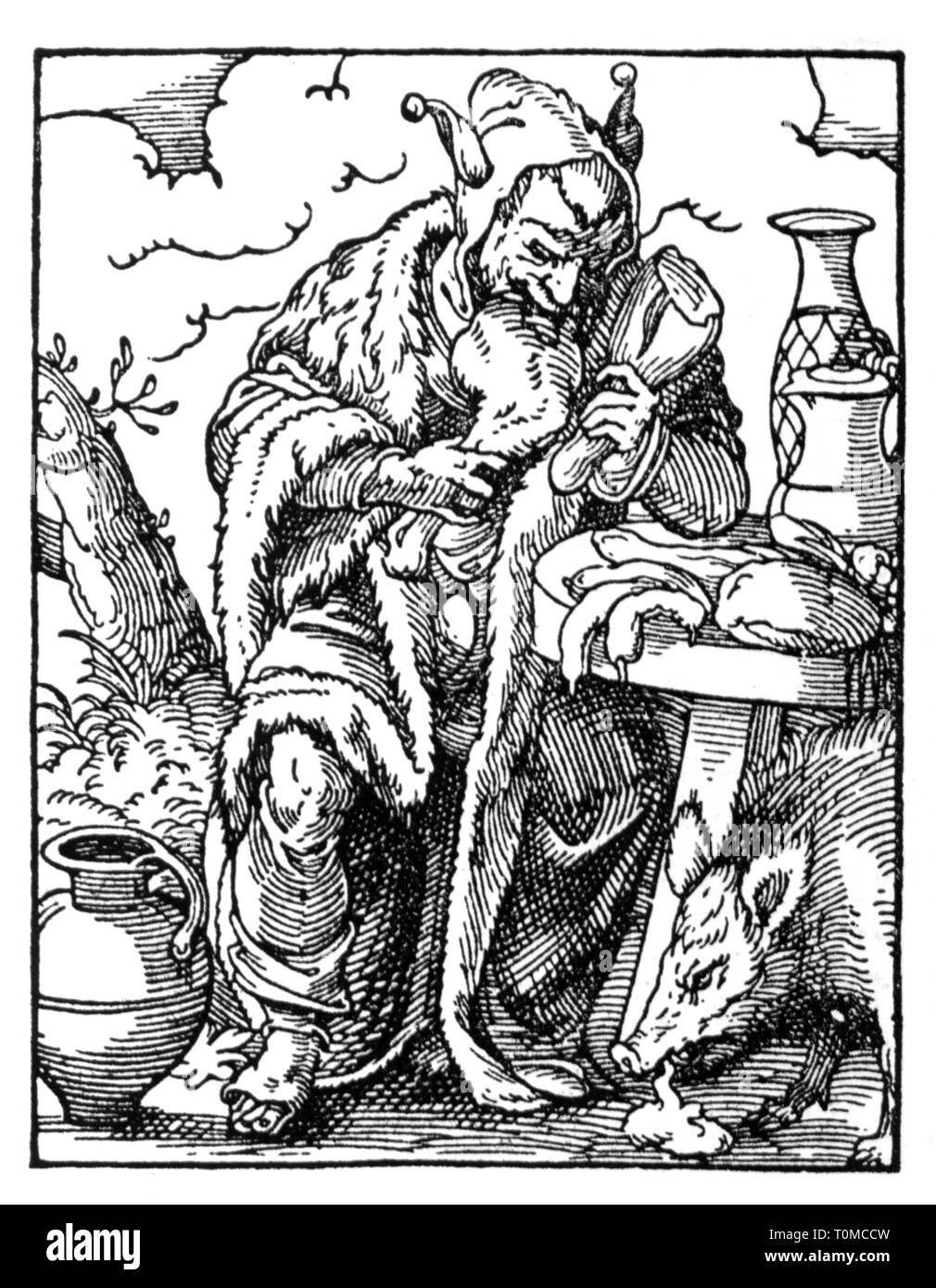 people, allegories, 'The eating Fool', woodcut, 'Staendebuch' von Jost Amman, Frankfurt am Main, 1568, with verse by Hans Sachs, Additional-Rights-Clearance-Info-Not-Available - Stock Image