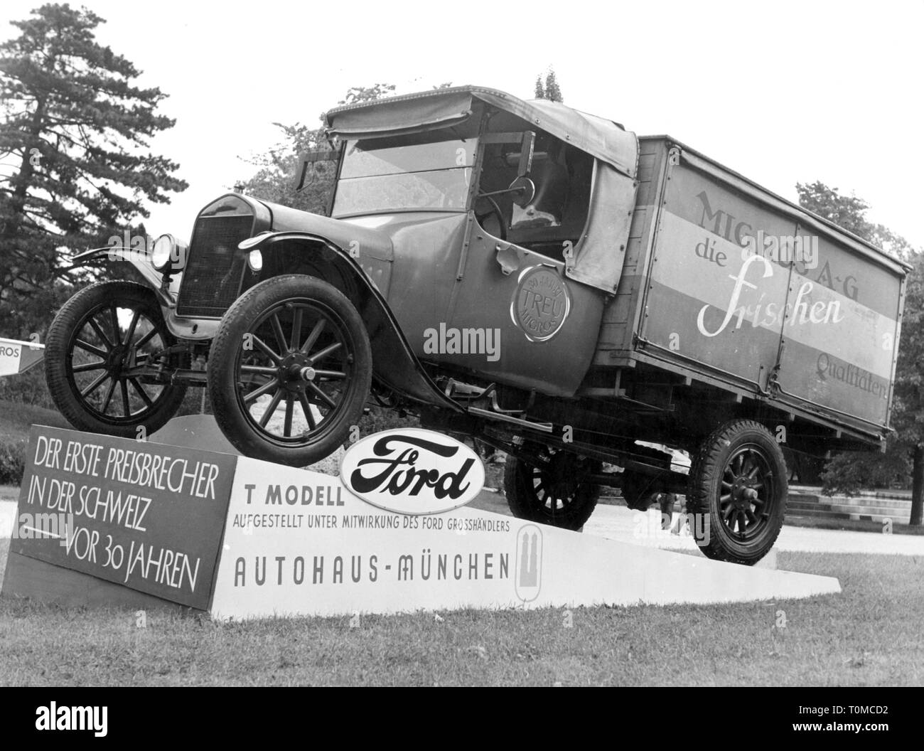 transport / transportation, cars, vehicle variants, Ford Model TT 1919, delivery van of the Migros-Genossenschaft, Zurich, Switzerland, positioned by Autohaus Munich, 1955, Migros, cooperative, companionship, business enterprise, commercial enterprise, business enterprises, commercial enterprises, company, companies, trade, monument, monuments, lorries, trucks, lorry, transporter, transporters, Model T, Tin Lizzie, 1950s, 50s, 20th century, transport, transportation, cars, car, delivery van, delivery truck, position, positioning, historic, histor, Additional-Rights-Clearance-Info-Not-Available - Stock Image