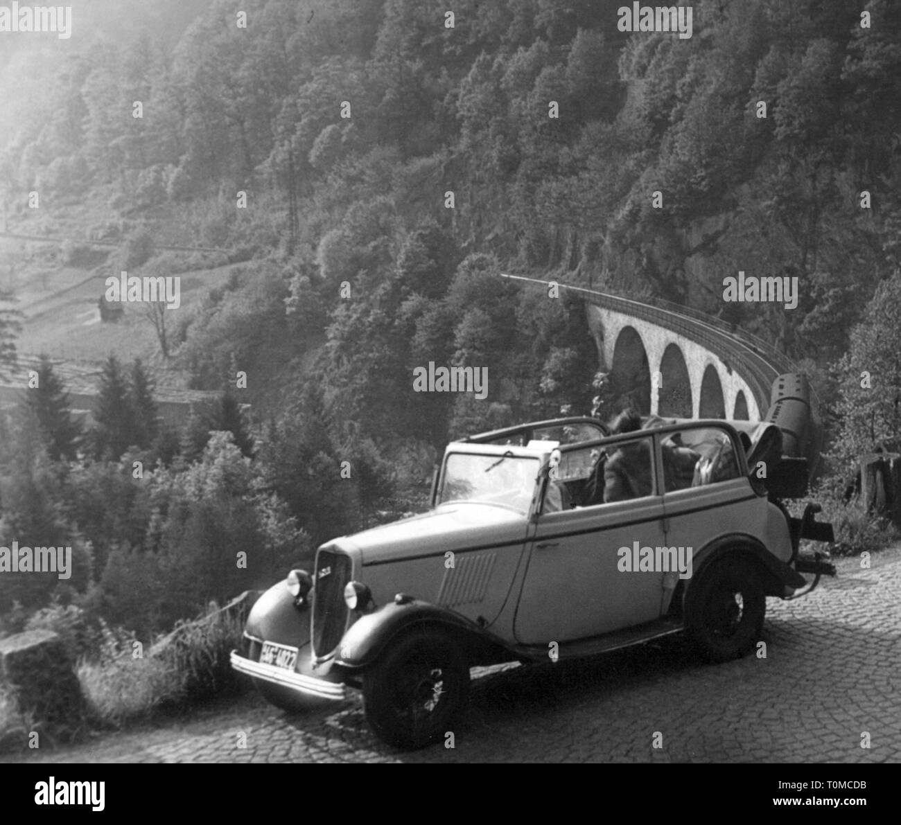transport / transportation, cars, vehicle variants, Ford V8 Model 40, view from left ahead, Muerz Valley, Styria, Austria, 1952, Additional-Rights-Clearance-Info-Not-Available - Stock Image