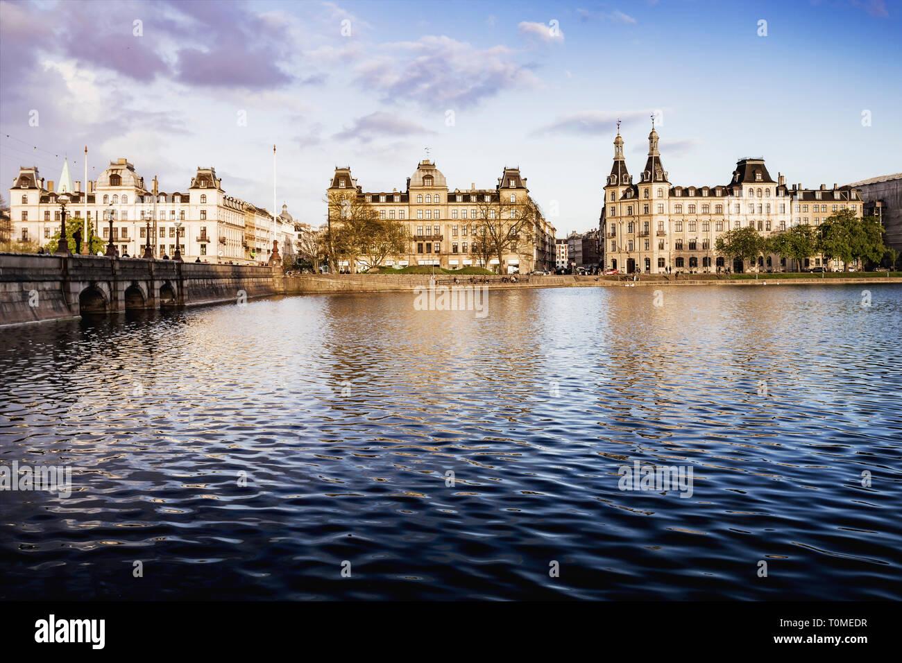 Copenhagen Lakes, Søerne, downtown, Copenhagen, Denmark - Stock Image