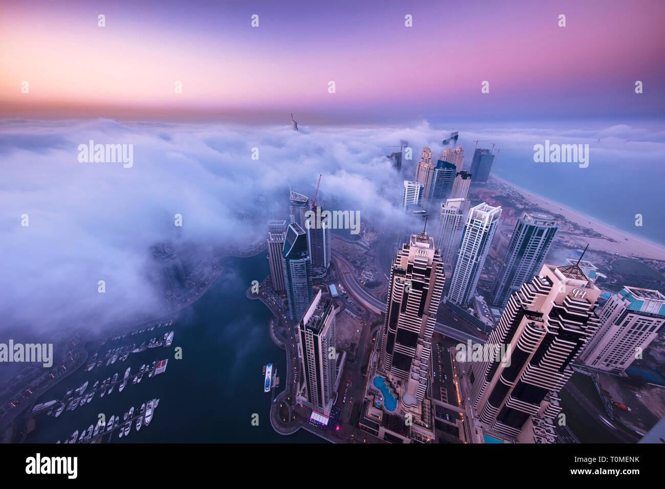 A foggy morning in Marina, Dubai Stock Photo