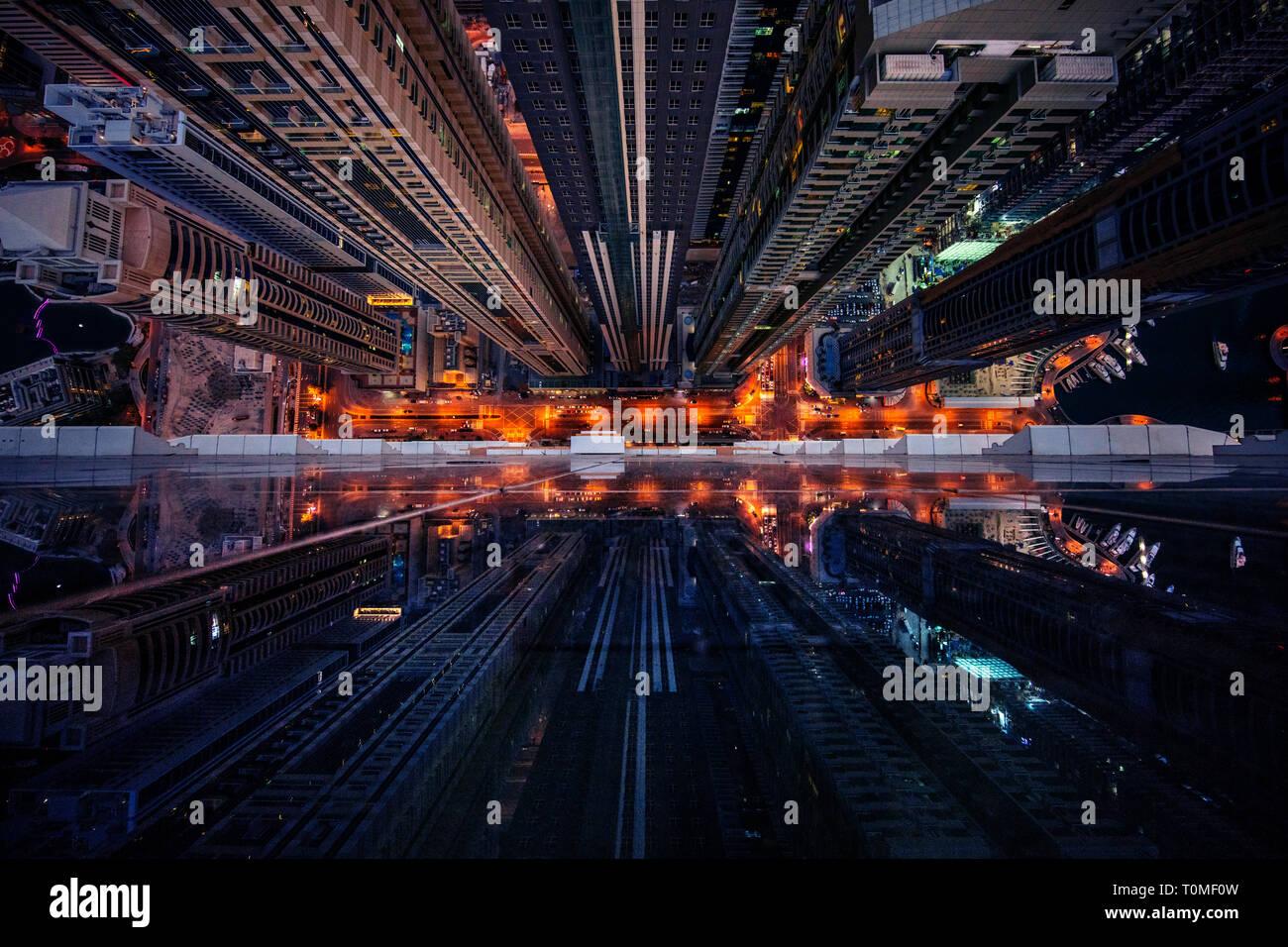 A perspective view of Dubai Marina, Dubai, UAE Stock Photo
