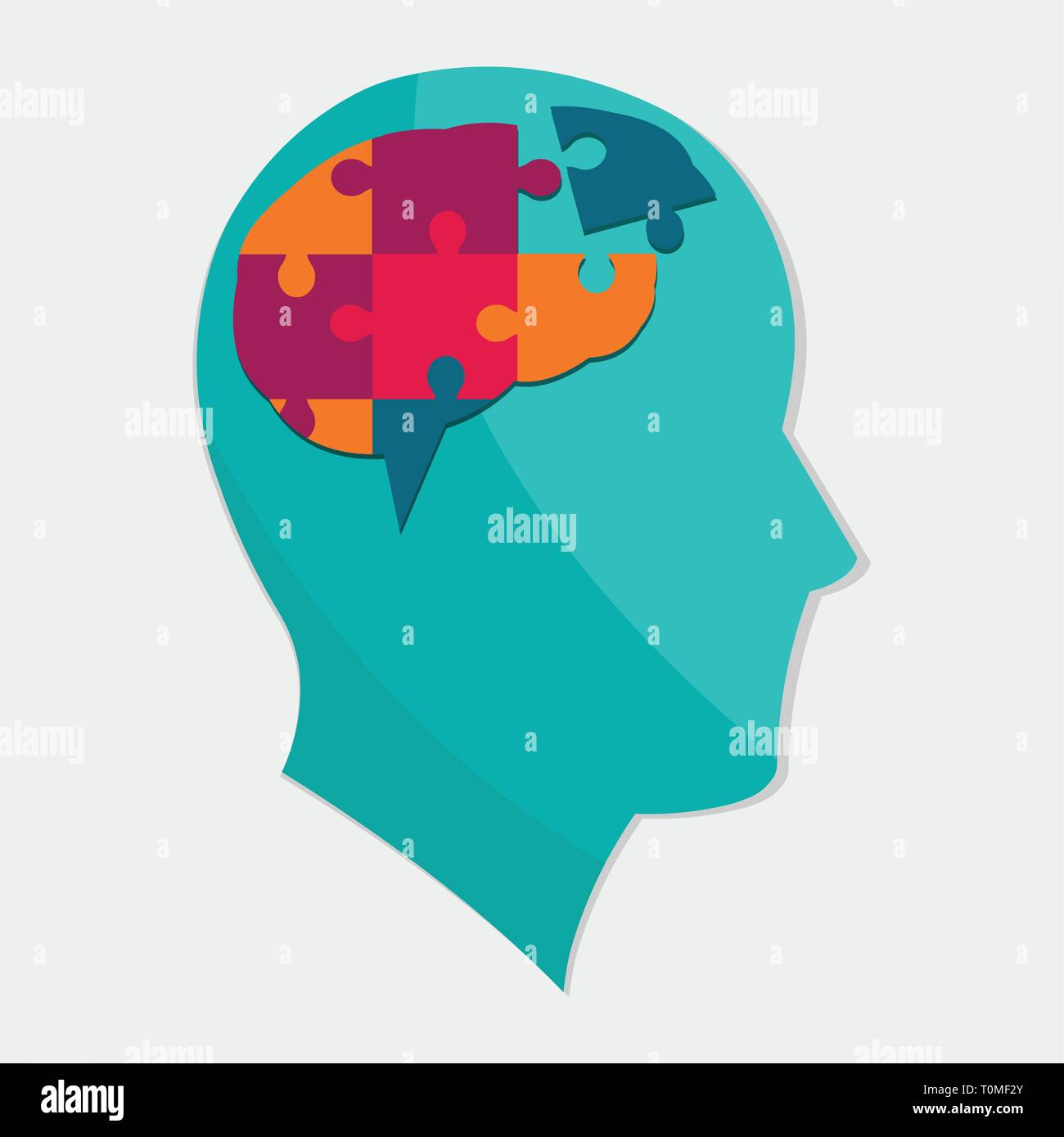 man silhouette with brain puzzle for autism day concept vector illustration - Stock Image