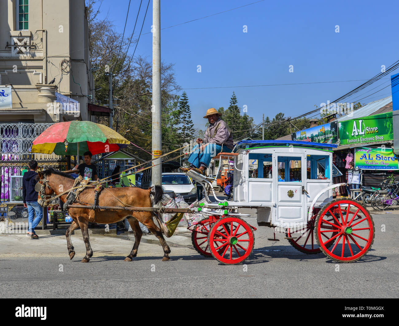 Pyin Oo Lwin, Myanmar - Feb 12, 2017  Horse carts in Pyin Oo