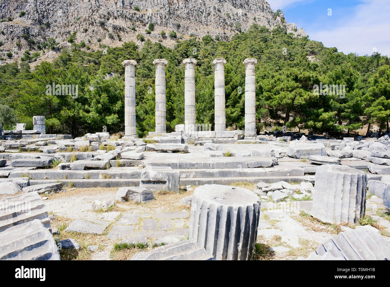 Ancient Roman ruins of Athena Temple, Priene, Turkey, Asia Minor, Asia Stock Photo