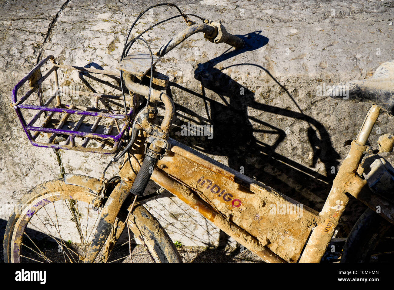 Bicycle wreck, Lyon, France - Stock Image
