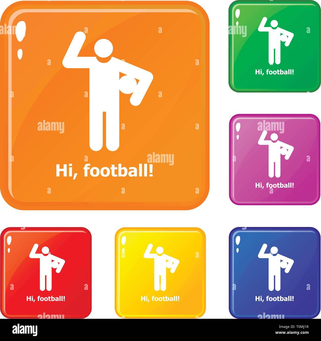 Football icons set vector color - Stock Vector