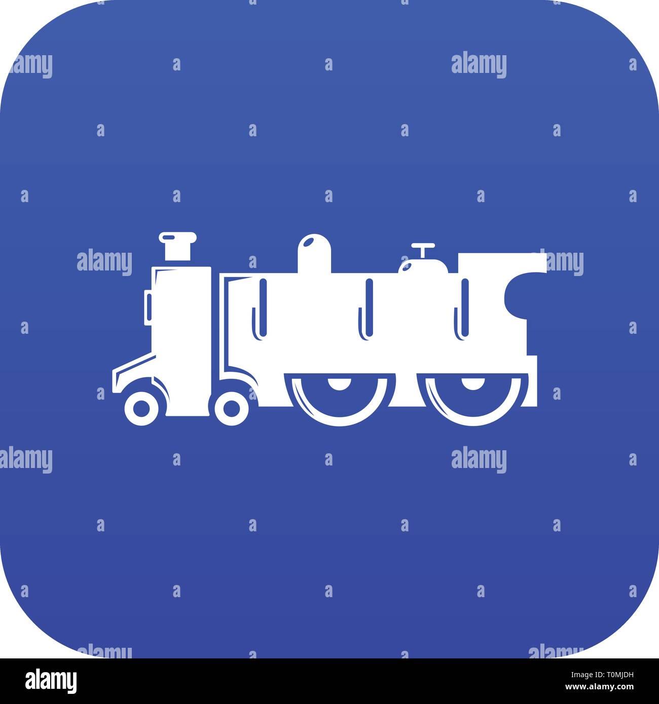 Old steam locomotive icon blue vector Stock Vector Art