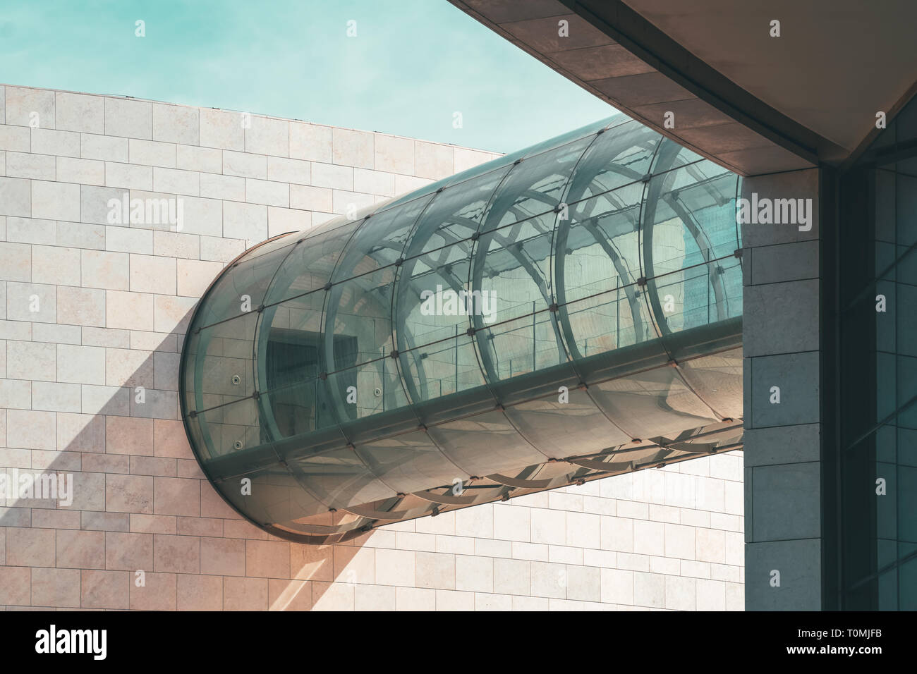 LISBON, PORTUGAL - AUGUST 25, 2017: Minimalist Glass Tunnel