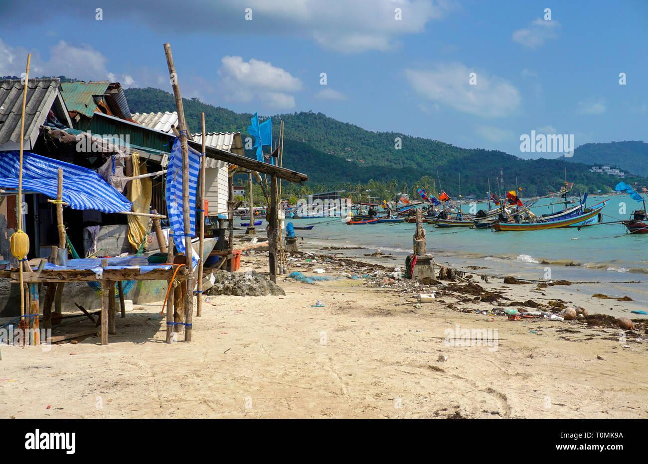 The fishing village Hua Thanon, fishing boats at the lagoon, Koh Samui, Gulf of Thailand, Thailand - Stock Image