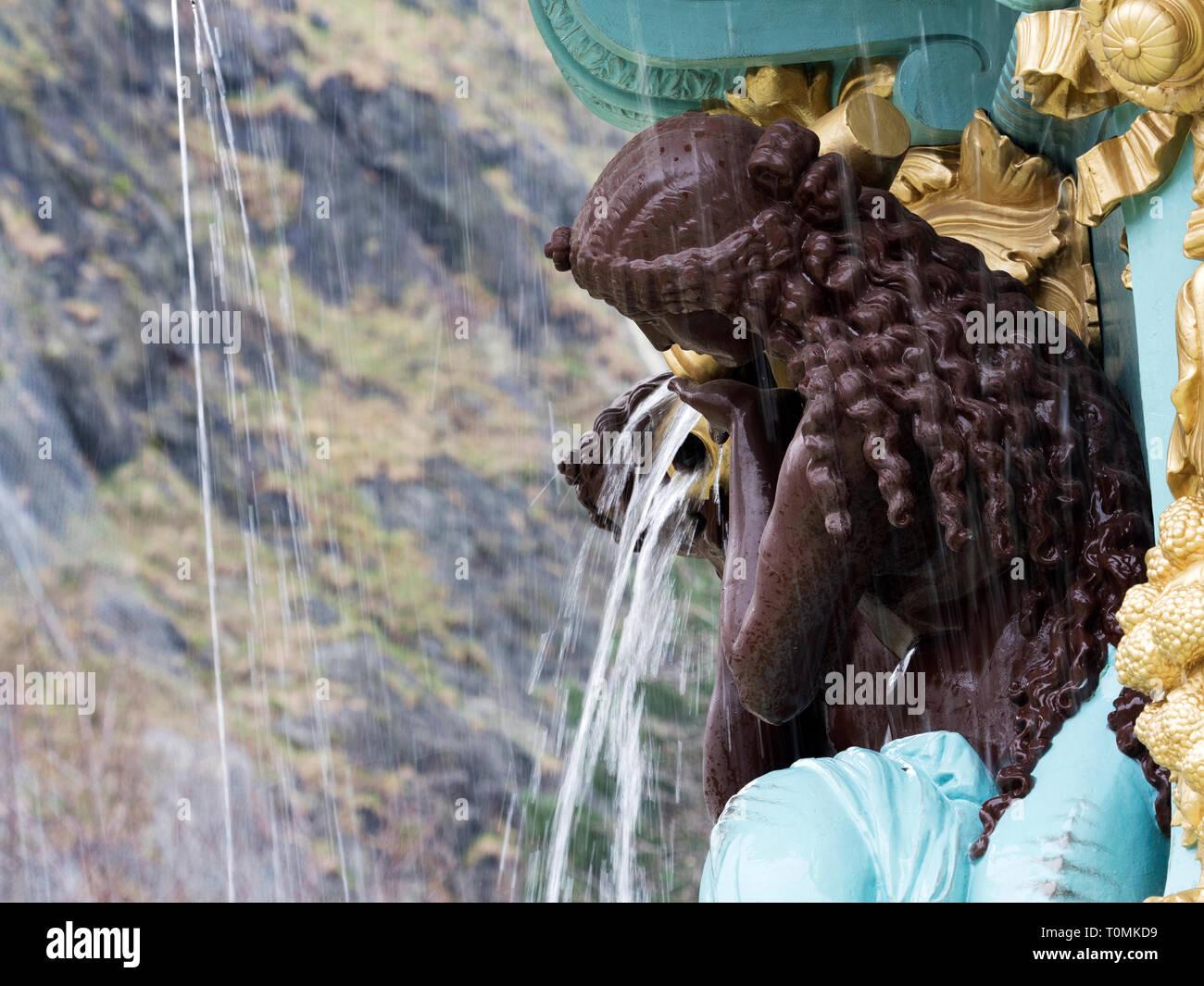Detail of the restored Ross Fountain in West Princes Street Gardens Edinburgh Scotland - Stock Image