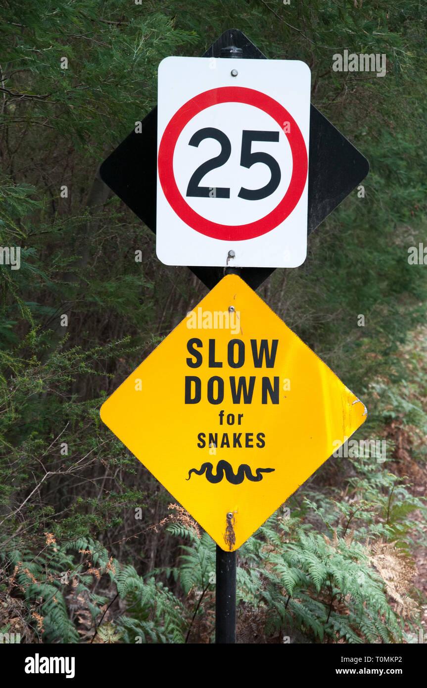Traffic warning sign outside the Australian Garden, Cranbourne, Victoria, Australia Stock Photo