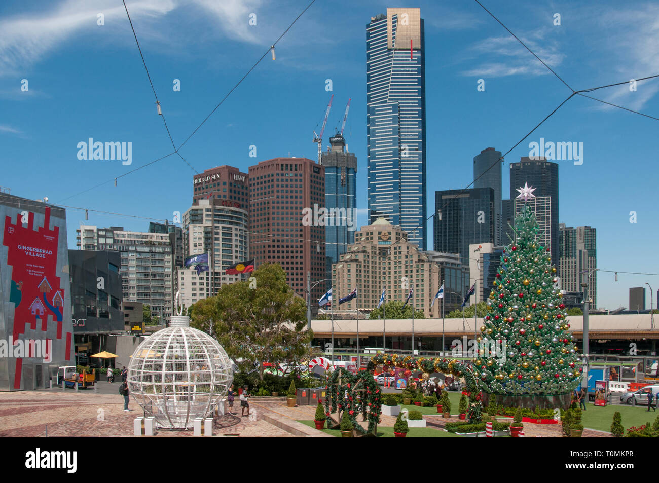 Christmas at Federation Square, Melbourne, Australia, December 2018 Stock Photo