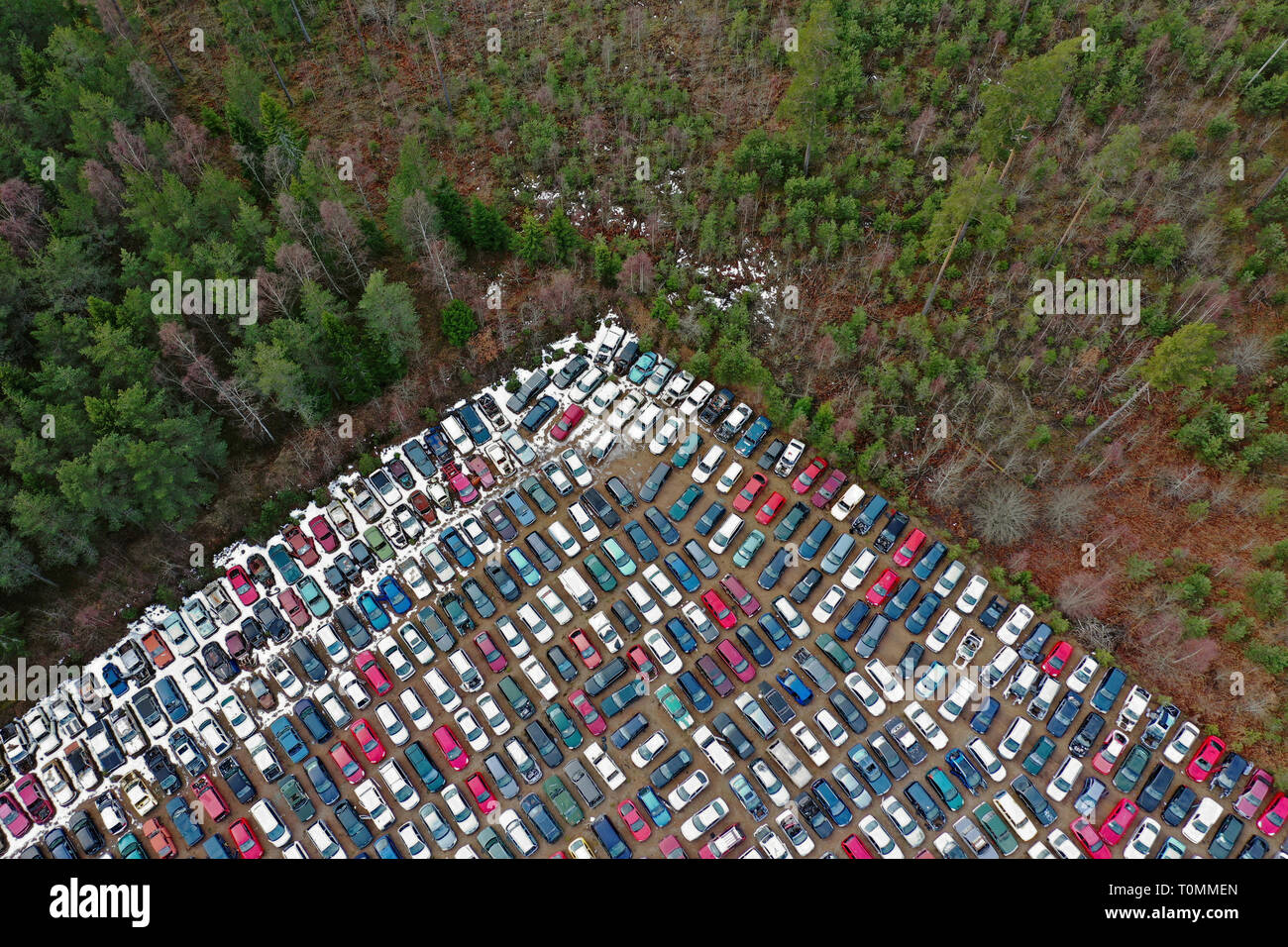 Sweden, Aerial view over a scrapyard for old cars.Photo Jeppe Gustafsson Stock Photo