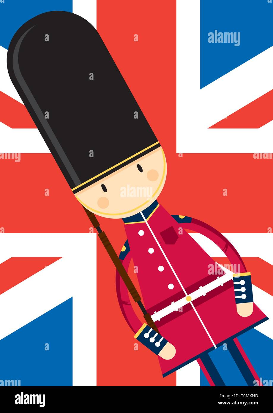 Cute Cartoon British Queen's Palace Guard on a Union Jack Background - Stock Vector