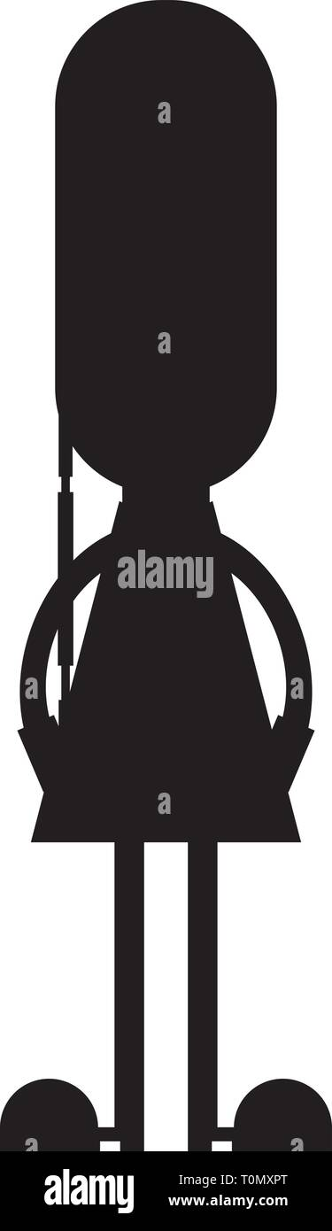 Cute Cartoon British Queen's Palace Guard in Silhouette - Stock Vector