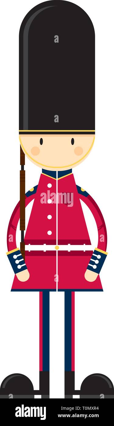 Cute Cartoon British Queen's Palace Guard - Stock Vector