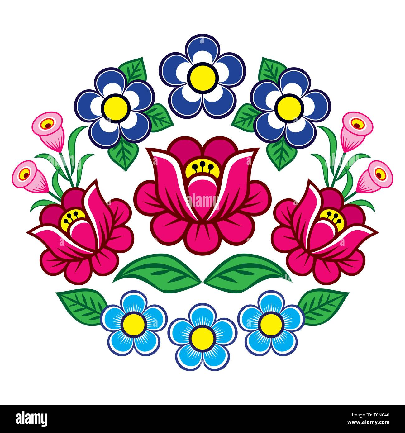 Polish folk art vector floral decoration, Zalipie decorative pattern with roses and leaves - greeting card, wedding invitation. Retro folk design - Stock Image