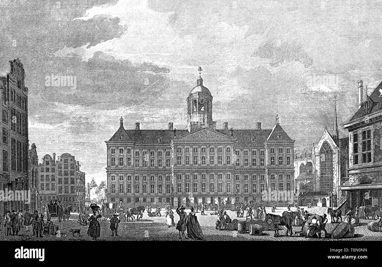 geography / travel, Netherlands, Amsterdam, castles, Paleis op de Dam (Royal palace), built 1648 - 1655 as city hall, architect: Jacob van Campen, exterior view, after copper engraving by Reinier Vinkeles, 17th century, Stadhuis, town house, town houses, building, buildings, square, squares, old town, historic city centre, historic city center, people, golden age, republic of the seven United provinces, United Netherlands, Dutch States-General, Dutch republic, palace, palaces, castle, castles, city hall, town hall, townhall, town halls, townhalls, city, Artist's Copyright has not to be cleared - Stock Image