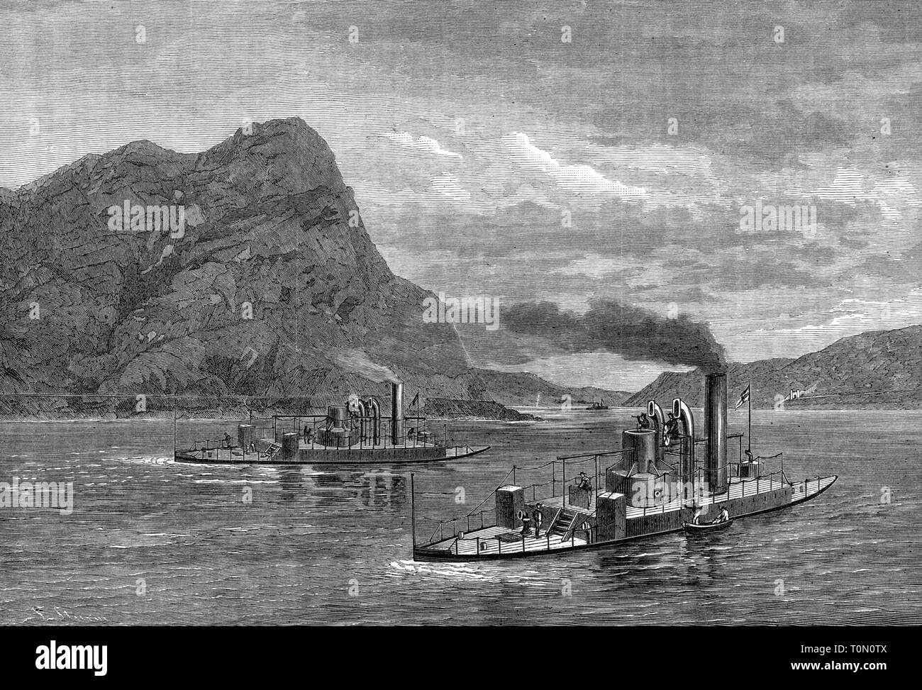 transport / transportation, navigation, warships, the monitors SMS 'Rhein' and SMS 'Mosel', cruising on the river Rhine, wood engraving, 1877, Additional-Rights-Clearance-Info-Not-Available - Stock Image