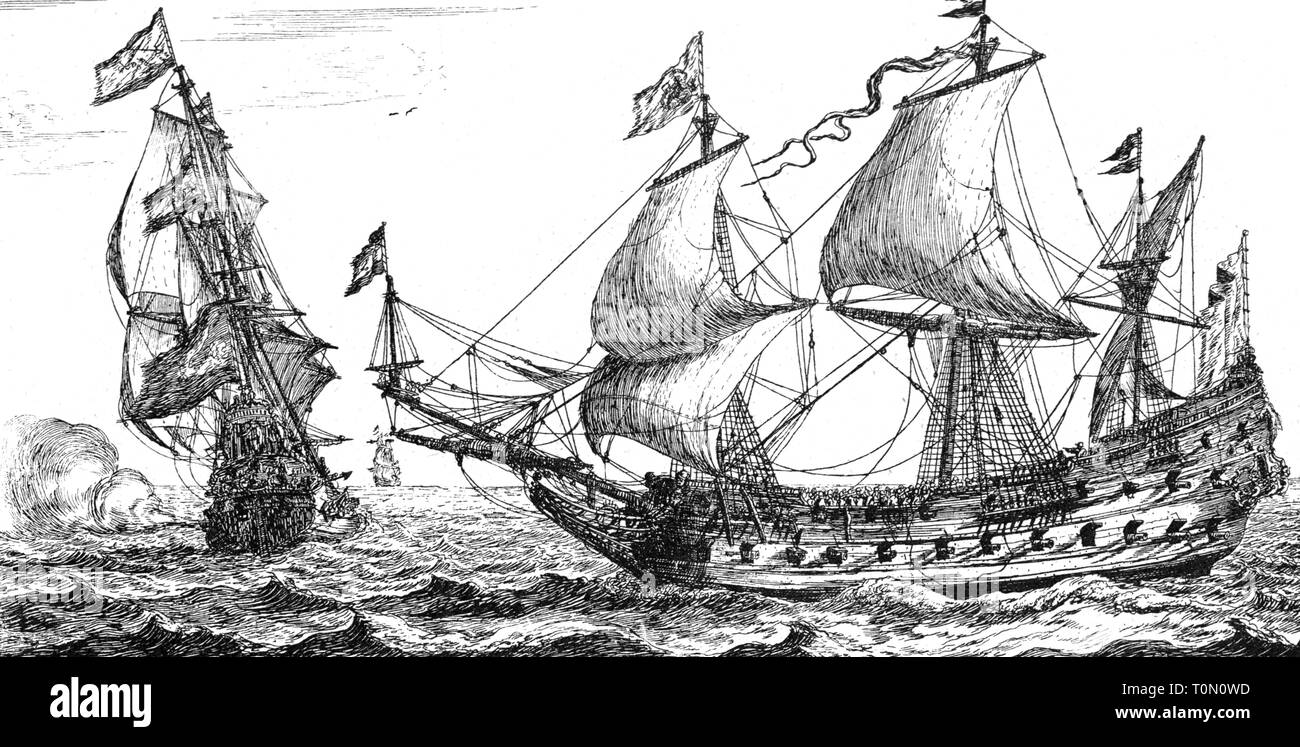transport / transportation, navigation, warships, English frigates of the royalists, Dutch copper engraving, circa 1658, Artist's Copyright has not to be cleared - Stock Image