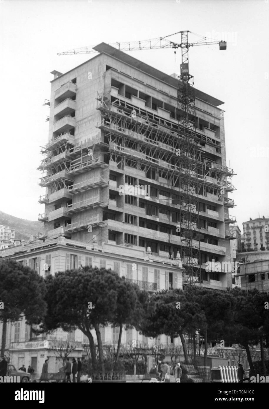 geography / travel, Monaco, buildings, hotel Palazzo Principessa Grace, under construction, exterior view, 1956, Additional-Rights-Clearance-Info-Not-Available - Stock Image