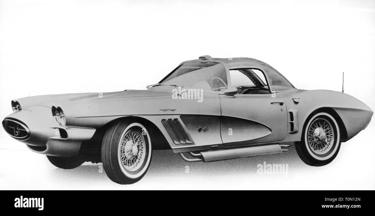 transport / transportation, car, vehicle variants, Chevrolet Corvette XP-700, view from left, international automobile show, New York City, 26.4.1960, XP700, XP 700, prototype, C2, C 2, sports car, roadster, sports cars, roadsters, coupe, twoseater, two-door model, clipping, cut out, cut-out, cut-outs, USA, United States of America, motor car, auto, automobile, passenger car, motorcar, motorcars, autos, automobiles, passenger cars, 1960s, 60s, 20th century, retouch, retouching, no-people, transport, transportation, car, cars, view, views, histori, Additional-Rights-Clearance-Info-Not-Available - Stock Image