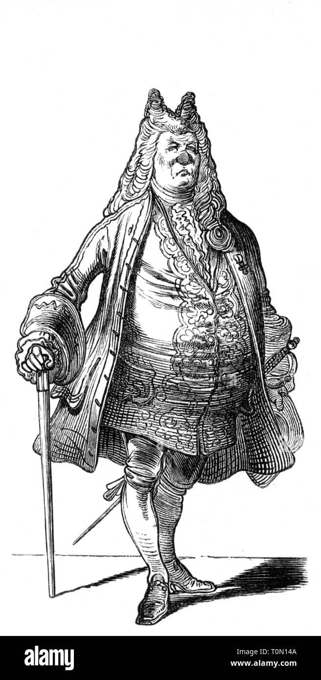 fashion, 18th century, 'Der Hofrath' (The Privy Councillor), illustration from 'Muenchner Bilderbogen', wood engraving, 19th century, graphic, graphics, full length, clipping, cut out, cut-out, cut-outs, standing, clothes, outfit, outfits, periwig, periwigs, wig, wigs, canes, cane,  official, officials, court counsellor, privy councilor, privy councillor, historic, historical, man, men, male, people, Additional-Rights-Clearance-Info-Not-Available - Stock Image