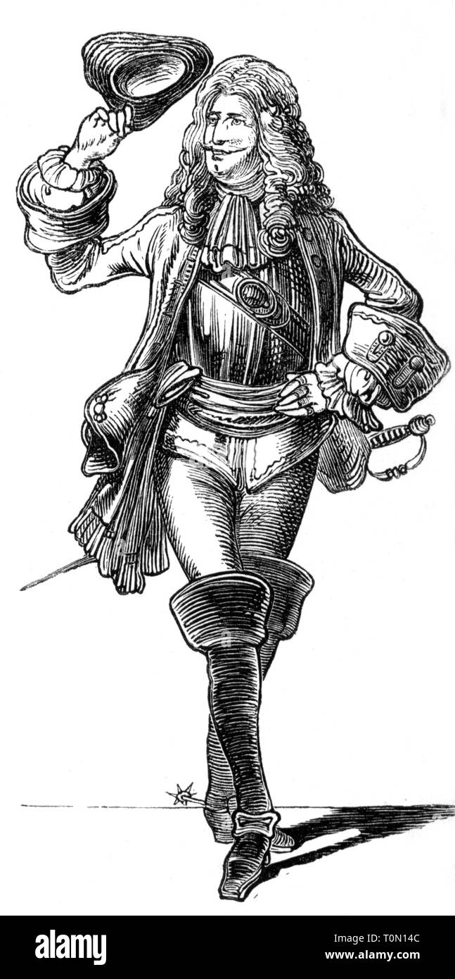 """fashion, 18th century, """"Der Adjutant"""" (The Adjutant), illustration from """"Muenchner Bilderbogen"""", wood engraving, 19th century, graphic, graphics, full length, clipping, cut out, cut-out, cut-outs, standing, clothes, outfit, outfits, hats, three-cornered hat, periwig, periwigs, wig, wigs, armour suit, armor suit, sword, boot, bucket top boots, military, soldier, soldiers, officer, officers, historic, historical, man, men, male, people, Additional-Rights-Clearance-Info-Not-Available Stock Photo"""