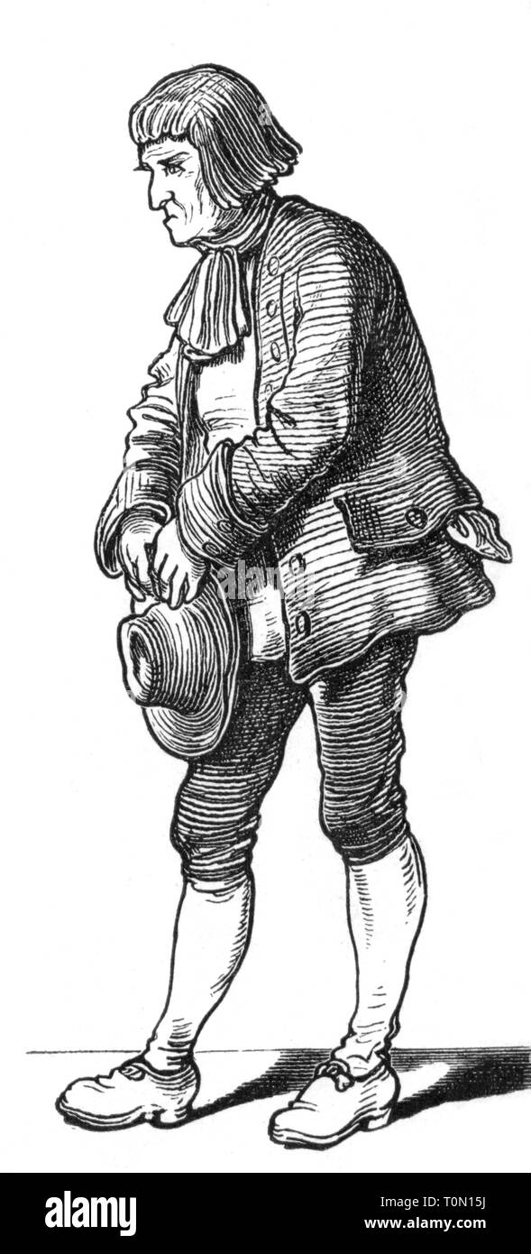 people, professions, 'Der Bauer' (The Farmer), illustration from 'Muenchner Bilderbogen' (Munich Sheet of Pictures), wood engraving, 19th century, graphic, graphics, full length, clipping, cut out, cut-out, cut-outs, standing, hats, hat, jacket, jackets, knee breeches, farmer, farmers, peasants, peasant, historic, historical, man, men, male, people, Additional-Rights-Clearance-Info-Not-Available - Stock Image