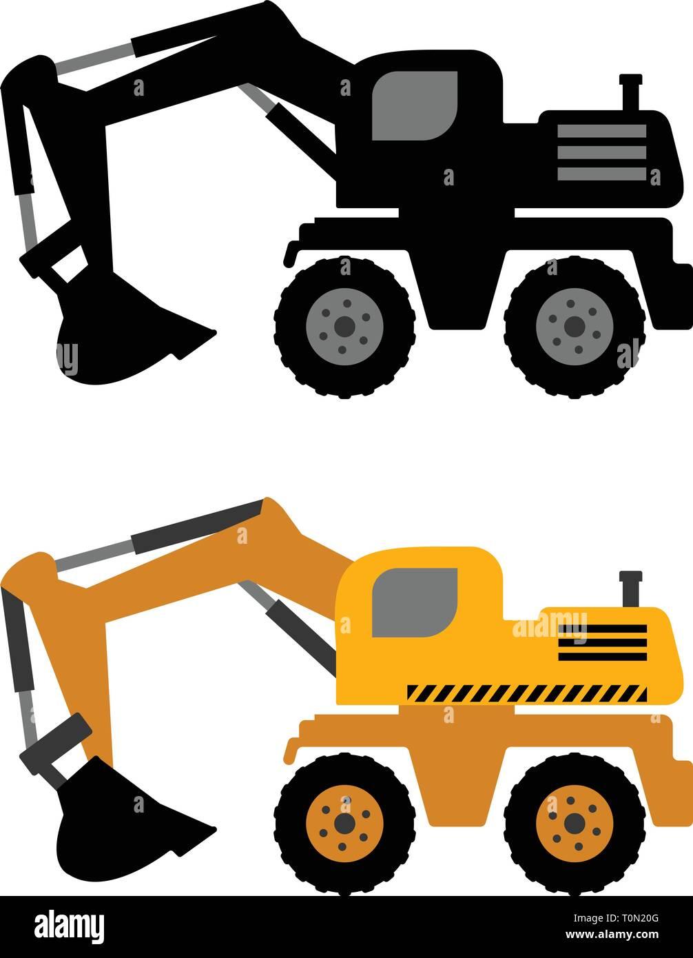 excavator icon - vector - Stock Vector