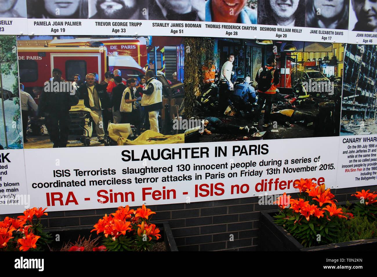 'Bayardo' - Erinnerung an protestantischer Opfer von Terroranschlaegen, die von Katholiken veruebt worden waren - Wandbild/ Mural, das an den Buergerk - Stock Image